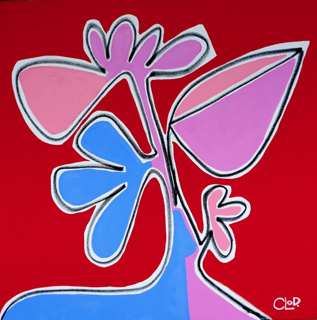 abstract painting with red blue and pink